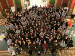 AmeriCorps members from across the state gathered in the Capitol Rotunda in Helena
