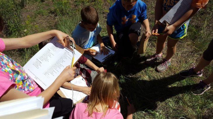 Students at Lolo Elementary gathering around wildlife habitat at their school